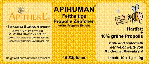Apihuman® - grüne Propoliszäpfchen - Propolissuppositorium - Vaginalzäpfchen - Ovula